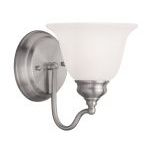 "Essex Collection 1-Light 6"" Brushed Nickel Bath Light with White Alabaster Glass 1351-91"