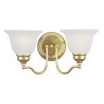 "Essex Collection 2-Light 15"" Polished Brass Bath Light with White Alabaster Glass 1352-02"