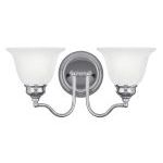 "Essex Collection 2-Light 15"" Chrome Bath Light with White Alabaster Glass 1352-05"
