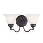 "Essex Collection 2-Light 15"" Bronze Bath Light with White Alabaster Glass 1352-07"