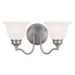 "Essex Collection 2-Light 15"" Brushed Nickel Bath Light with White Alabaster Glass 1352-91"