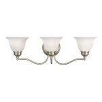 "Essex Collection 3-Light 24"" Antique Brass Bath Light with White Alabaster Glass 1353-01"