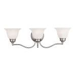 "Essex Collection 3-Light 24"" Brushed Nickel Bath Light with White Alabaster Glass 1353-91"