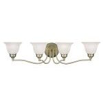 "Essex Collection 4-Light 32"" Antique Brass Bath Light with White Alabaster Glass 1354-01"