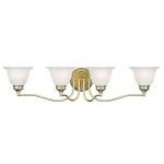 "Essex Collection 4-Light 32"" Polished Brass Bath Light with White Alabaster Glass 1354-02"