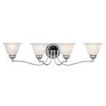 "Essex Collection 4-Light 32"" Chrome Bath Light with White Alabaster Glass 1354-05"