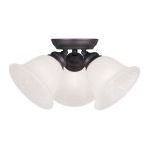 "Essex Collection 3-Light 15"" Bronze Ceiling Mount with White Alabaster Glass 1358-07"