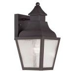 "Vernon Collection 1-Light 6"" Bronze Outdoor Wall Lantern with Seeded Glass 2450-07"