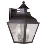"Vernon Collection 2-Light 9"" Bronze Outdoor Wall Lantern with Seeded Glass 2451-07"