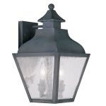 "Vernon Collection 2-Light 9"" Charcoal Outdoor Wall Lantern with Seeded Glass 2451-61"