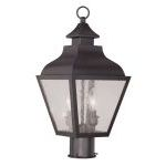"Vernon Collection 2-Light 9"" Bronze Outdoor Post Head with Seeded Glass 2452-07"