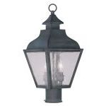 "Vernon Collection 2-Light 9"" Charcoal Outdoor Post Head with Seeded Glass 2452-61"
