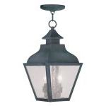 "Vernon Collection 2-Light 9"" Charcoal Outdoor Chain Hang with Seeded Glass 2453-61"