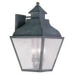 "Vernon Collection 3-Light 12"" Charcoal Outdoor Wall Lantern with Seeded Glass 2454-61"