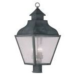 "Vernon Collection 3-Light 12"" Charcoal Outdoor Post Head with Seeded Glass 2455-61"