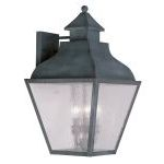 "Vernon Collection 4-Light 14"" Charcoal Outdoor Wall Lantern with Seeded Glass 2457-61"