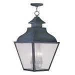 "Vernon Collection 4-Light 14"" Charcoal Outdoor Chain Hang with Seeded Glass 2459-61"