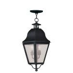 "Amwell Collection 2-Light 9"" Black Outdoor Chain Hang with Seeded Glass 2546-04"