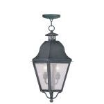"Amwell Collection 2-Light 9"" Charcoal Outdoor Chain Hang with Seeded Glass 2546-61"