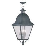 "Amwell Collection 4-Light 14"" Charcoal Outdoor Chain Hang with Seeded Glass 2547-61"