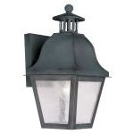 "Amwell Collection 1-Light 7"" Charcoal Outdoor Wall Lantern with Seeded Glass 2550-61"