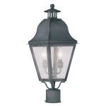 "Amwell Collection 2-Light 9"" Charcoal Outdoor Post Head with Seeded Glass 2552-61"