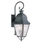 "Amwell Collection 3-Light 11"" Charcoal Outdoor Wall Lantern with Seeded Glass 2555-61"