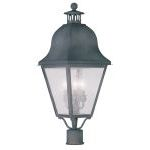 "Amwell Collection 3-Light 11"" Charcoal Outdoor Post Head with Seeded Glass 2556-61"