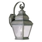 "Exeter Collection 1-Light 7"" Vintage Pewter Outdoor Wall Lantern with Clear Water Glass 2601-29"