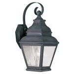 "Exeter Collection 1-Light 7"" Charcoal Outdoor Wall Lantern with Clear Water Glass 2601-61"
