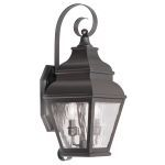 "Exeter Collection 2-Light 8"" Bronze Outdoor Wall Lantern with Clear Water Glass 2602-07"