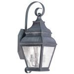 "Exeter Collection 2-Light 8"" Charcoal Outdoor Wall Lantern with Clear Water Glass 2602-61"