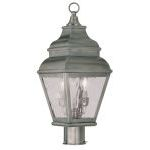"Exeter Collection 2-Light 8"" Vintage Pewter Outdoor Post Head with Clear Water Glass 2603-29"