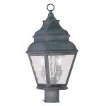 "Exeter Collection 2-Light 8"" Charcoal Outdoor Post Head with Clear Water Glass 2603-61"