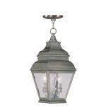 "Exeter Collection 2-Light 8"" Vintage Pewter Outdoor Chain Hang with Clear Water Glass 2604-29"