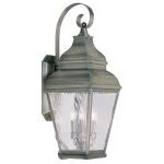 "Exeter Collection 3-Light 10"" Vintage Pewter Outdoor Wall Lantern with Clear Water Glass 2605-29"