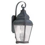 "Exeter Collection 3-Light 10"" Charcoal Outdoor Wall Lantern with Clear Water Glass 2605-61"