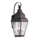 "Exeter Collection 4-Light 14"" Bronze Outdoor Wall Lantern with Clear Water Glass 2607-07"