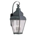 "Exeter Collection 4-Light 14"" Vintage Pewter Outdoor Wall Lantern with Clear Water Glass 2607-61"