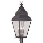 "Exeter Collection 4-Light 14"" Charcoal Outdoor Post Head with Clear Water Glass 2608-07"