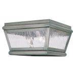 "Exeter Collection 2-Light 8"" Vintage Pewter Outdoor Ceiling Mount with Clear Water Glass 2611-29"