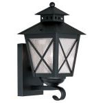 "Montgomery Collection 1-Light 7"" Black Outdoor Wall Lantern with Seeded Glass 2670-04"