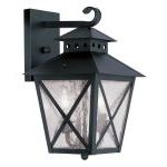 "Montgomery Collection 2-Light 9"" Black Outdoor Wall Lantern with Seeded Glass 2671-04"