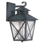 "Montgomery Collection 2-Light 9"" Charcoal Outdoor Wall Lantern with Seeded Glass 2671-61"