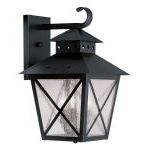 "Montgomery Collection 3-Light 11"" Black Outdoor Wall Lantern with Seeded Glass 2672-04"