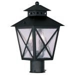 "Montgomery Collection 2-Light 9"" Black Outdoor Post Head with Seeded Glass 2673-04"