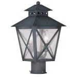 "Montgomery Collection 2-Light 9"" Charcoal Outdoor Post Head with Seeded Glass 2673-61"