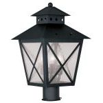 "Montgomery Collection 3-Light 11"" Black Outdoor Post Head with Seeded Glass 2674-04"