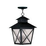 "Montgomery Collection 3-Light 11"" Black Outdoor Chain Hang with Seeded Glass 2675-04"