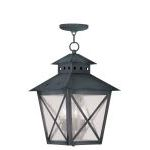 "Montgomery Collection 3-Light 11"" Charcoal Outdoor Chain Hang with Seeded Glass 2675-61"